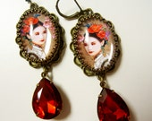 Beautiful Chinese girl earrings with Deep Laquer red Drop