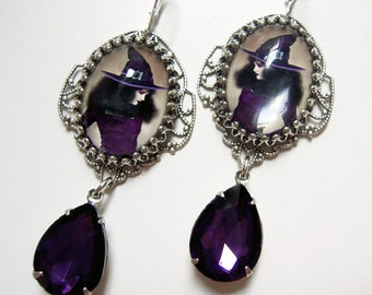 Glam Witch -  vintage Witch earrings with Rhinestone Drop in violet, amethyst purple and champagne