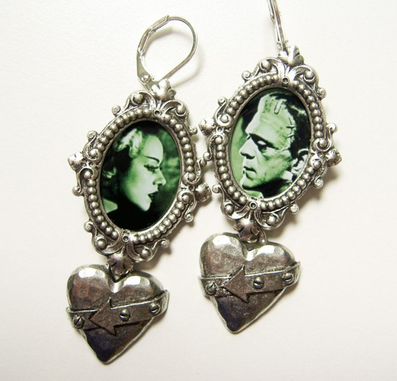 Frankenstein Earrings, Monster Earrings,Bride of Frankenstein, Movie Monster Jewelry,  Frankenstein Jewelry, Gothic Earrings, Rockabilly