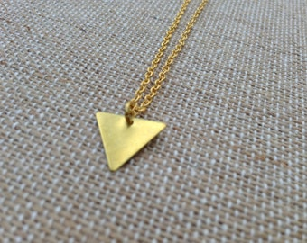 Triangle Small Brass Charm Necklace