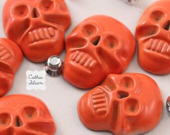 Skull Nail Studs Heads - Orange - 6 pcs -  Screw Back - fashion halloween