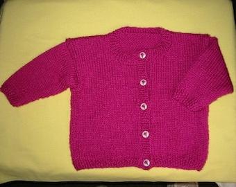 Handknit Girls Raspberry Cardigan with Heart Shaped Balloon Buttons