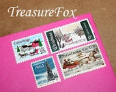 Country Christmas II .. Vintage Unused US Postage Stamps for you to mail 10 Letters