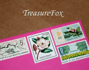 Botanical Beauties .. Unused Vintage Postage Stamps .. Enough to mail 10 letters