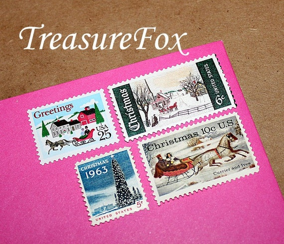 Country Christmas II .. Vintage Unused US Postage Stamps for you to mail 10 Letters, White Christmas at Grandmas, Holiday foods and presents