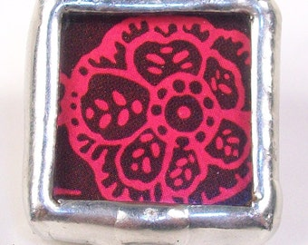 SALE! Chocolate Bloom- Handmade soldered charm mixed-media finding with recycled floral design in  chocolate brown and magenta pink