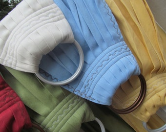 Ring Sling Baby Carrier - French Twill Cotton - 6 color choices - DVD included