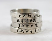Custom Name Ring, Personalized Stacking Ring, Sterling Silver Ring, Personalized Jewelry, Custom Hand Stamped, Engraved Ring, Gift for mom