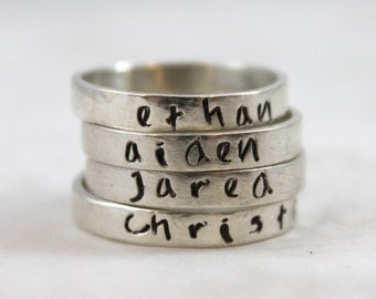 Mother's Day Personalized Ring, Stacking Rings, Solid Sterling Silver, Personalized Jewelry, Custom Hand Stamped, custom name