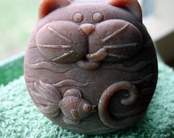 Fat Cat Goat's Milk Soap, Fat Cat Soap, Cat Soap, Vanilla Oil Added Cat Soap, Make in Montana Soap, Homemade Soap