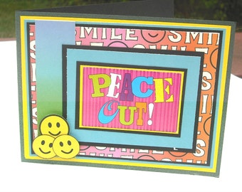 Clearance Card, All Occasion Peace Out Card, Thinking of You, Rainbow Colors, Smiley Faces, Birthday Card, Thank you Card