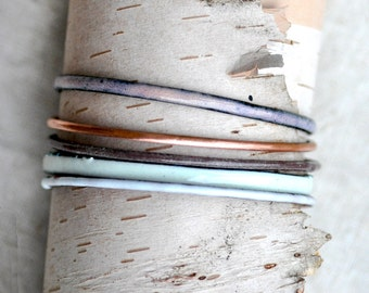 Handcrafted Bangle Set - 'Farthing' - 5 Piece Set - Pastel Enamel Bracelets
