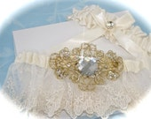 Weddings, Wedding Garter Set, English Net Garter Set, Bride Garter in Ivory with Something Blue  for Bride