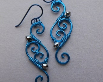 Blue Wire Spiral Earrings -- Swirl Wire Wrapped Filigree Earrings, Silver Faceted Beads
