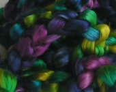 SILK Top Roving Sliver Fiber Cultivated Mulberry JEWELS of the NILE Supreme Quality Mulberry Silk A1 Fine Hand Painted for Handspinning 2 oz