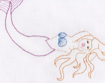 Mermaid Hand Embroidery Pattern, PDF, Mermaid with Shells, Ocean, Sea,