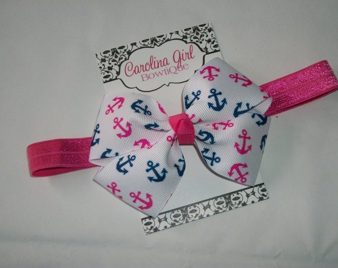 Navy and Pink Anchors Bow Band - Anchor Bow on an Elastic Headband Baby Infant Toddler - Girls Hair Bows
