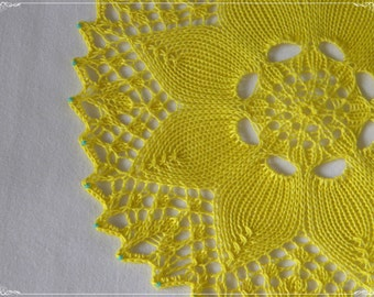 Hand knit yellow flower mandala doily with turquoise beads