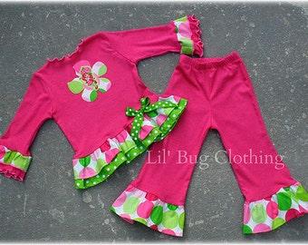 Custom Boutique Girl Strawberry Shortcake Tee and Pant  Ribbon Bow Birthday Girl