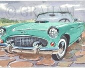 1955 Thunderbird, classic car, Original Watercolor Painting, 4x6 inches, This is an Original painting and Not a Print