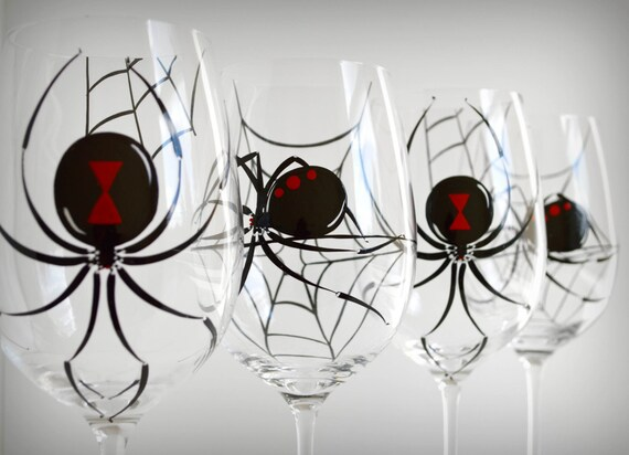 Black Widow Spider Glasses - Set of 4 Hand Painted Halloween Wine Glasses