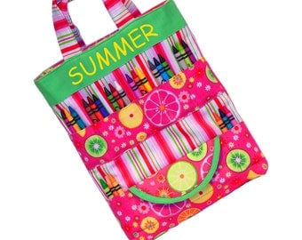 COLORING TOTE BAG - Art Travel Tote - Fruit - (Includes All Supplies Shown)