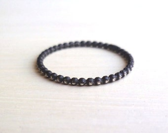 Beaded Stacked Ring - Oxidized - Sterling Silver - Black - Rustic - Minimalist Ring - Custom - Stackable - Gifts Under 15 - Made In Brooklyn