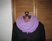 Orchid purple warm winter crochet infinity cowl scarf