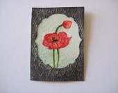 Red Poppy Hand stamped Embossed Miniature Art Card ACEO