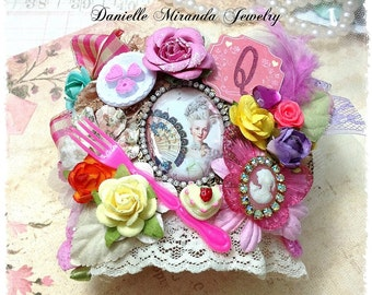 FREE US Shipping Marie Antoinette Let Them Eat Cake Queen Floral Collage Corsage Kawaii Cuff Bracelet