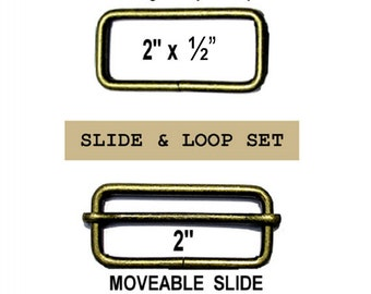 """5 SETS - 2"""" - Moveable Sliders and 2 inch Rectangular Split Loops, ANTIQUE BRASS"""