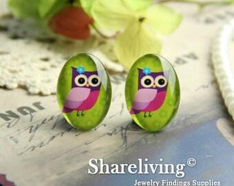 4pcs 18x25mm Handmade Photo Glass Cabs Cabochons (Cartoon Owl)   -- BCH820R