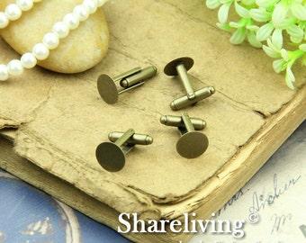 10pcs Antique Bronze Nickel-free Cuff Links With 12mm Pad HA602