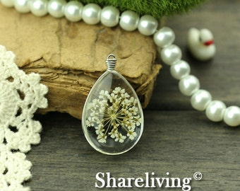 1pcs High Quality Handmade 25x18mm Teardrop Glass Wire Wrapped Charm / Pendant (Flower) -- HGC501J