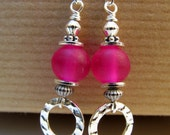Hot Pink Bead and Hoops Sterling Silver Earrings