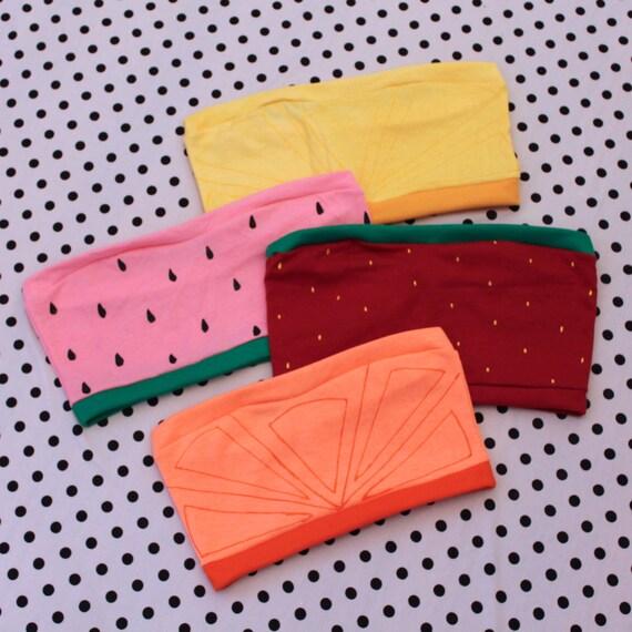 custom fruit slice bandeau bralette crop top