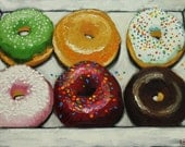 Donuts still life painting 21 18x24 inch original oil painting by Roz