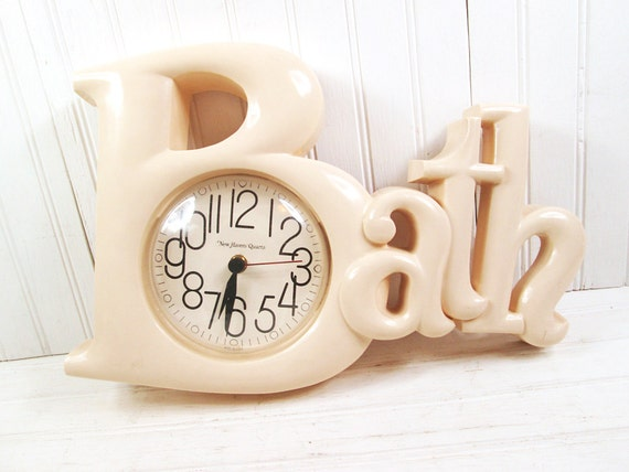 Vintage Burwood Bath Word Wall Clock 2654 Plastic Retro Beige