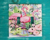 retro flamingo double switch plate vintage 1950's florida kitsch pink flamingo decor