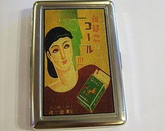 retro cigarette case vintage  1920's cigarette advertising Japanese art deco