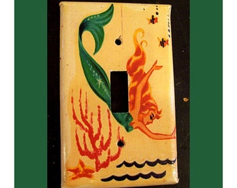 retro mermaid switchplate 1950's pin up rockabilly vintage nautical light switch plate