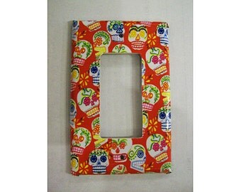 Sugar skull rocker switch plate retro Day of the Dead light switch cover vintage Mexico kitsch