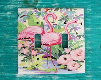 retro flamingo double switch plate vintage 1950s florida kitsch pink flamingo decor - Pink Flamingo Bath Decor