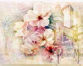 Greeting card - Pink blossoms and Castle - Adorned with Flowers Collection