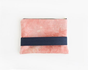 Dyed pink salmon small clutch with zipper