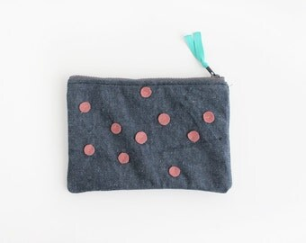 Pink polka dots on denim small clutch I