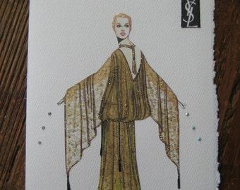 1977 Yves St. Laurent chiffon Evening Dress fashion illustration card