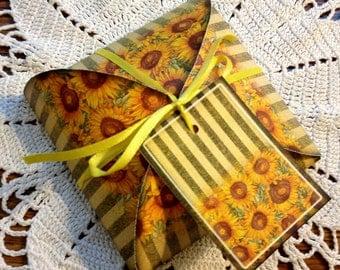 SuNFLoWERS & STRiPES- Gift/Favor Decorative Box Template-Instant Download- Printable Sheet - JPG Digital File
