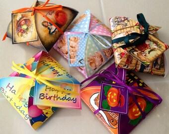 HoLIDAYS- 5 Decorative Favor/Gift Box Templates- Christmas Halloween Thanksgiving Easter Birthday- 5 Printable JPG Digital FileS