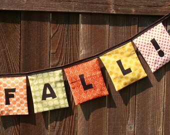 HAPPY FALL!  Reusable Cloth Fabric Banner - Orange, Yellow, Green, Brown - Eco Friendly